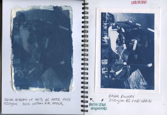 Notebook entry with cyanotype print, writing and sketches